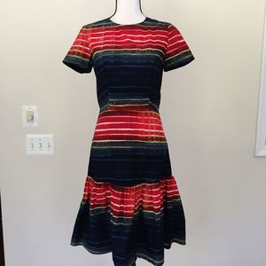 Suno Striped Ruffle Hem Dress Size 4
